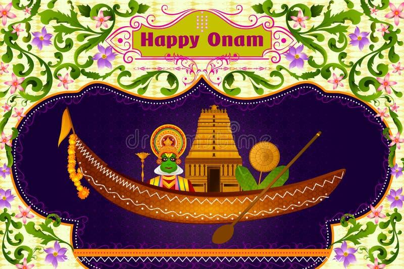 Bailarín de Kathakali y templo indio del sur en el barco para Onam feliz stock de ilustración
