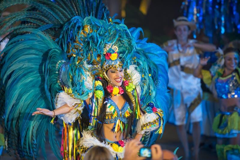 Bailarín de la hembra del carnaval del Brasil foto de archivo