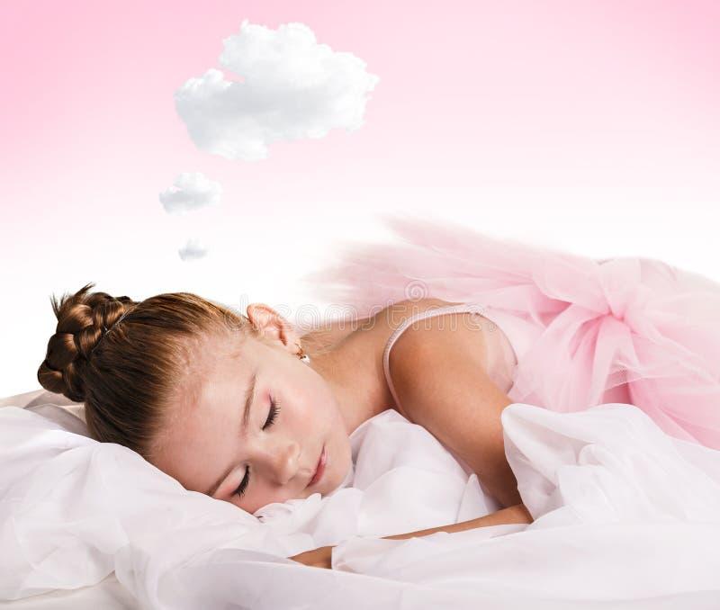 Bailarín de la muchacha cansado y dormido fotos de archivo libres de regalías