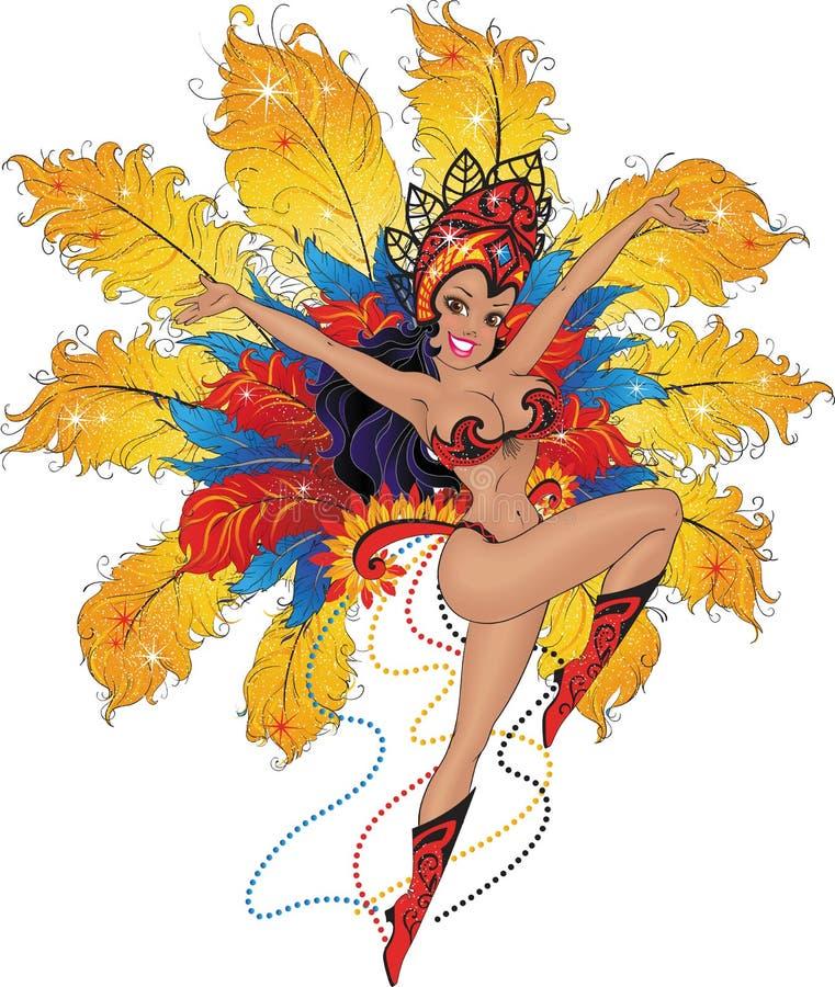 Bailarín de la muchacha en el carnaval brasileño libre illustration