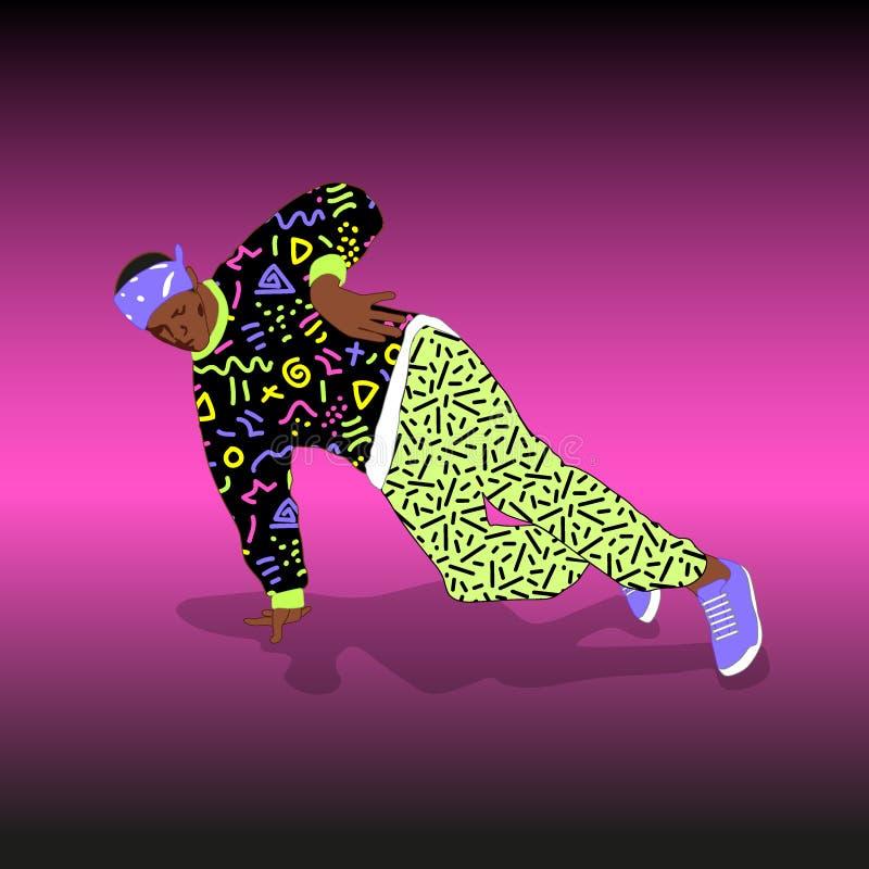 bailarín de la rotura de la calle del estilo 80s y 90s stock de ilustración