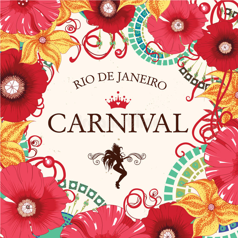 Bailarín de la samba e invitación hermosos de las flores imagen de archivo libre de regalías