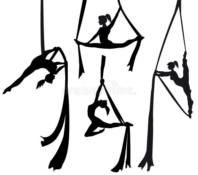 Bailarín de seda aéreo en silueta stock de ilustración