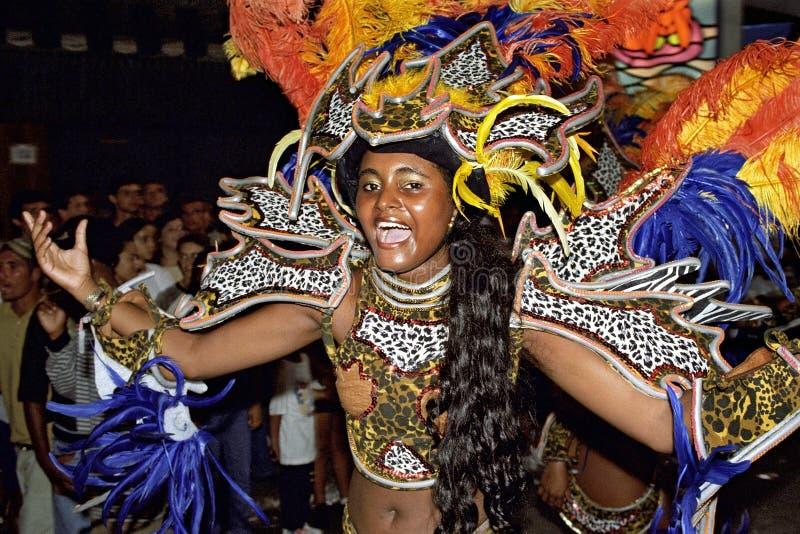 Bailarín de sexo femenino brasileño durante carnaval de la calle en Río imagenes de archivo