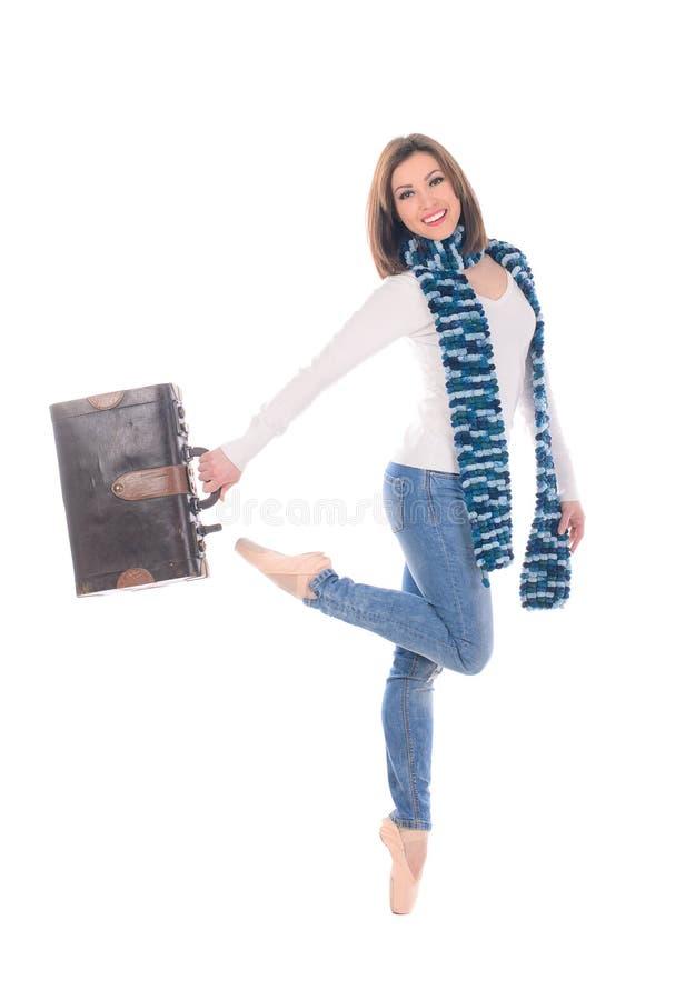 Bailarín de sexo femenino con la maleta retra imágenes de archivo libres de regalías