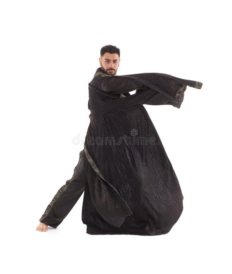 Bailarín de sexo masculino en traje oriental fotos de archivo