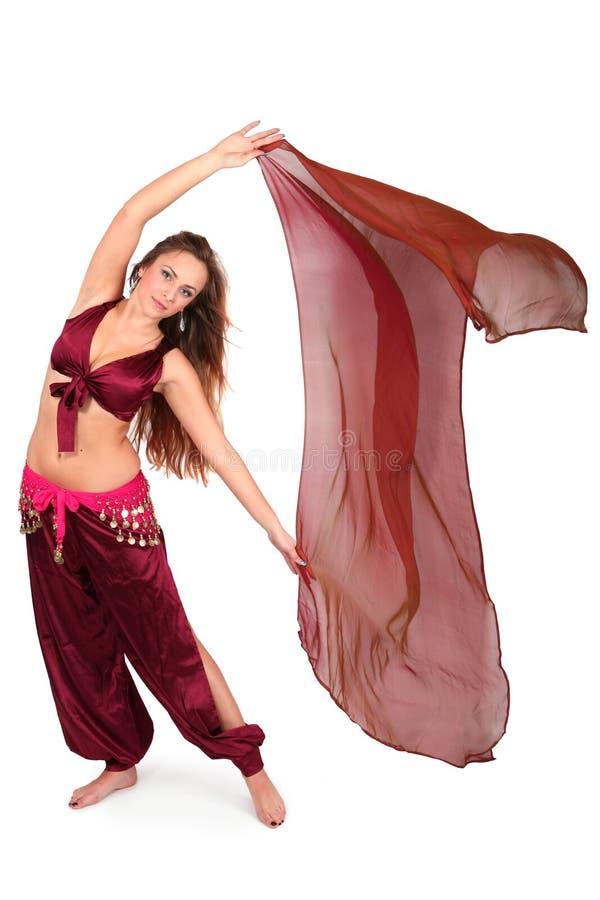 Bailarín de vientre joven hermoso con un velo imágenes de archivo libres de regalías