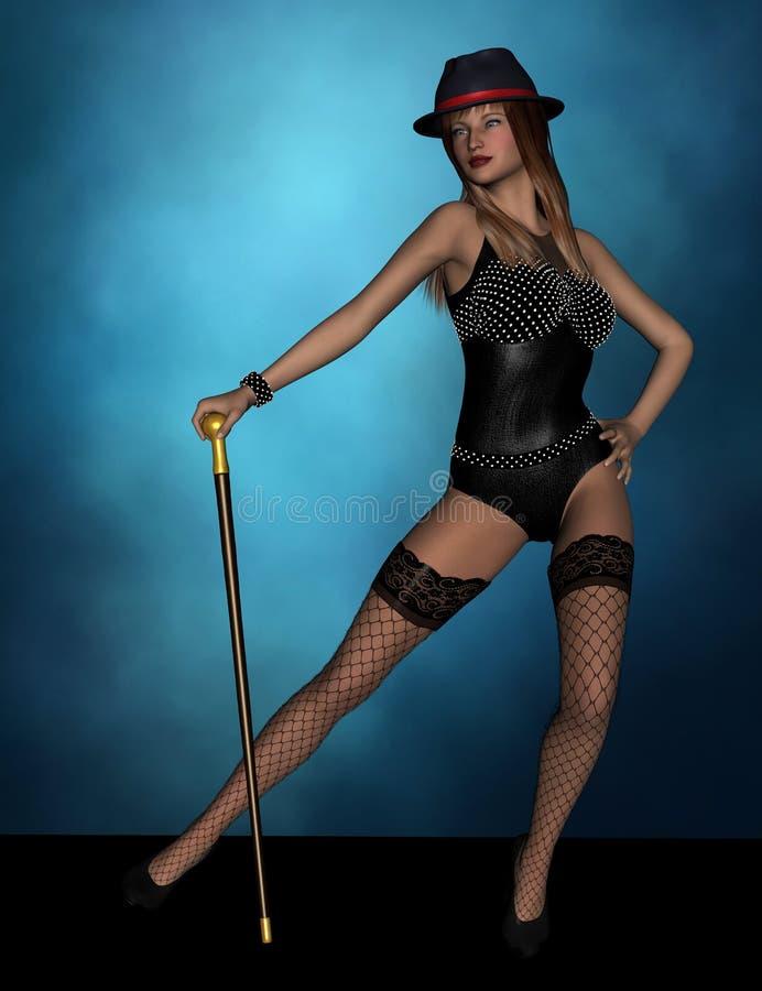 Bailarín del cabaret ilustración del vector