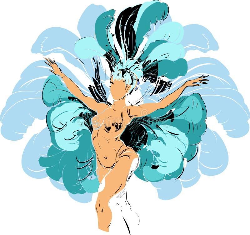 Bailarín del cabaret stock de ilustración