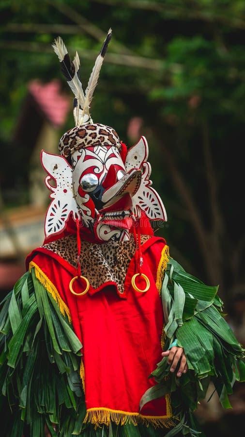 Bailarín del Dayak de Hudoq, tribu nativa de Borneo imagen de archivo libre de regalías
