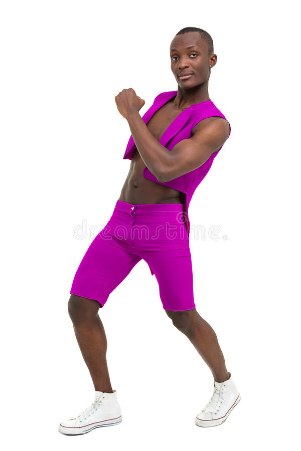 Bailarín del disco que muestra algunos movimientos contra blanco aislado imagen de archivo