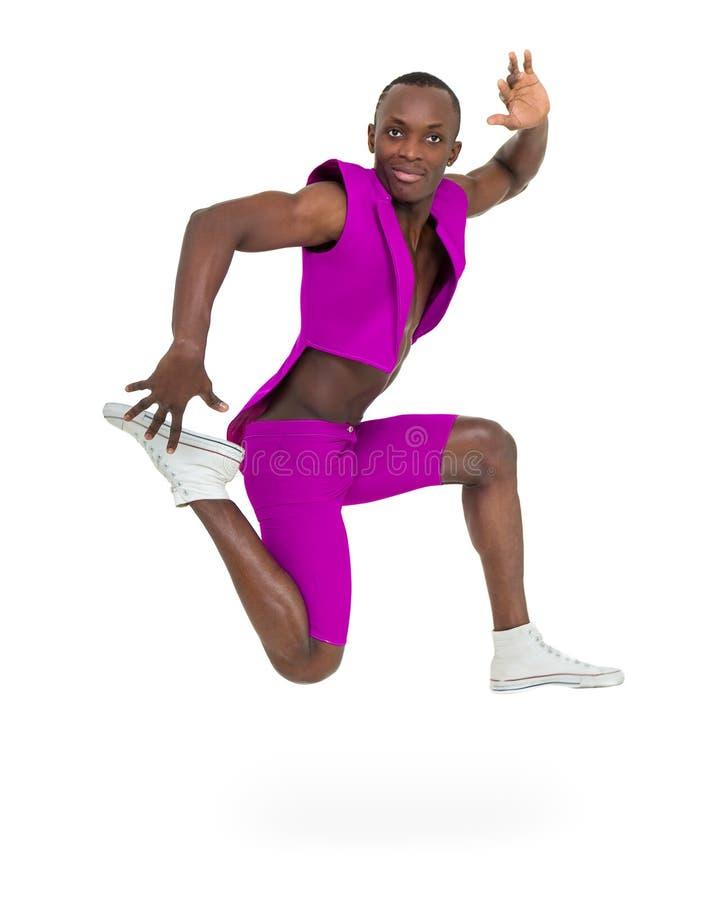 Bailarín del disco que muestra algunos movimientos contra blanco aislado foto de archivo libre de regalías