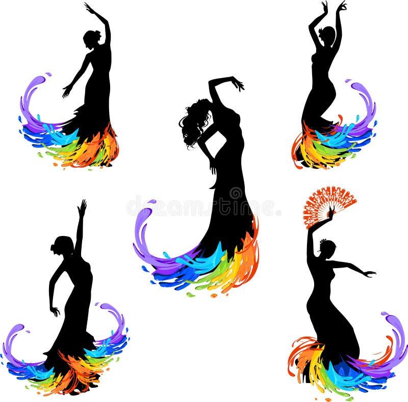 Bailarín del flamenco stock de ilustración