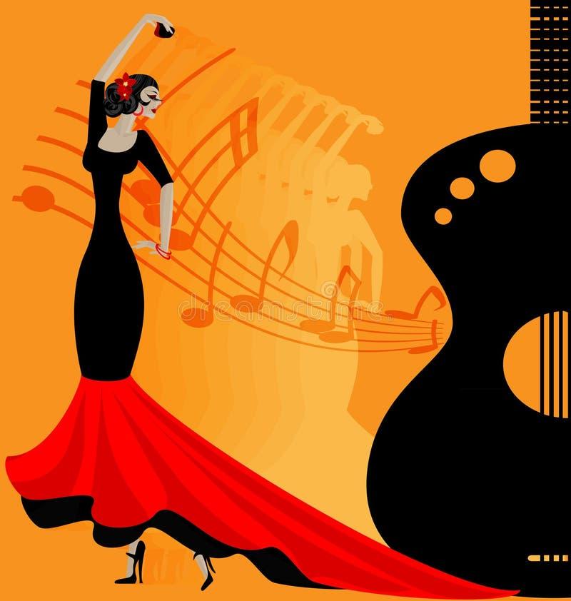 bailarín del flamenko en rojo-negro stock de ilustración