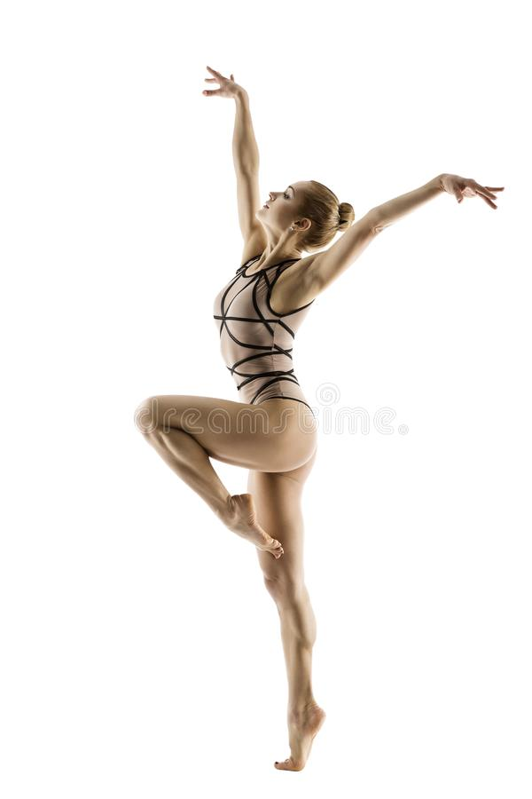 Bailarín del gimnasta, danza del deporte del baile de la gimnasia de mujer en leotardo fotografía de archivo libre de regalías