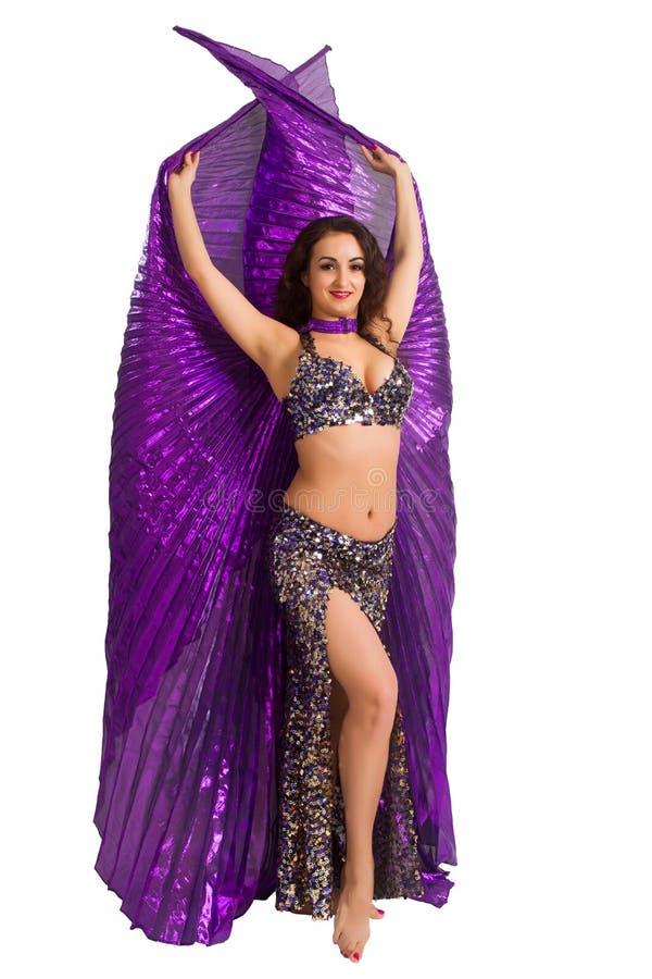 Bailarín En Un Traje De Plata Con Las Alas Púrpuras Foto de archivo ...