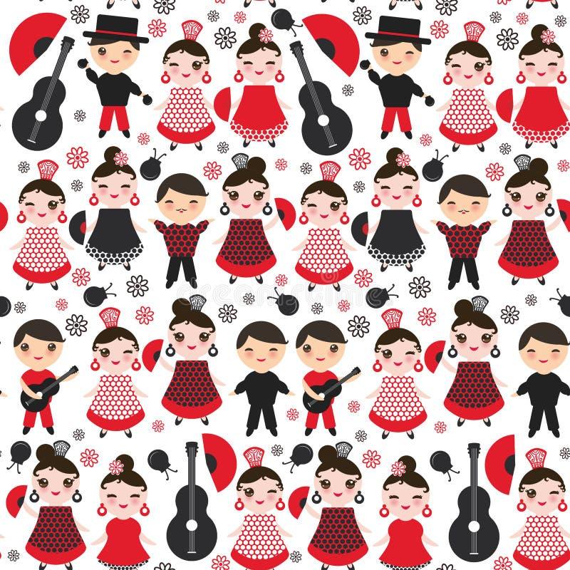 Bailarín español del flamenco del modelo inconsútil stock de ilustración