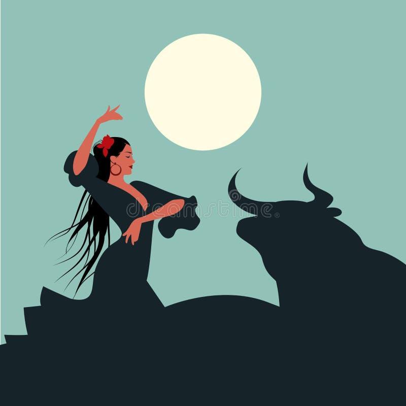 Bailarín español elegante y hermoso del flamenco con el pelo largo, bailando delante de un toro debajo de la luna ilustración del vector