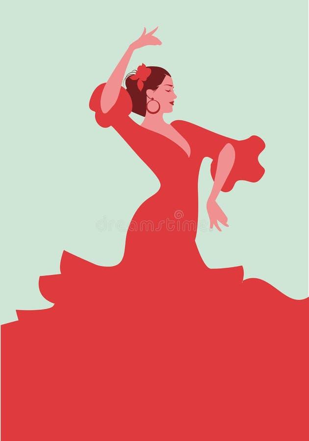 Bailarín español hermoso del flamenco, vestido rojo elegante que lleva y ilustración del vector