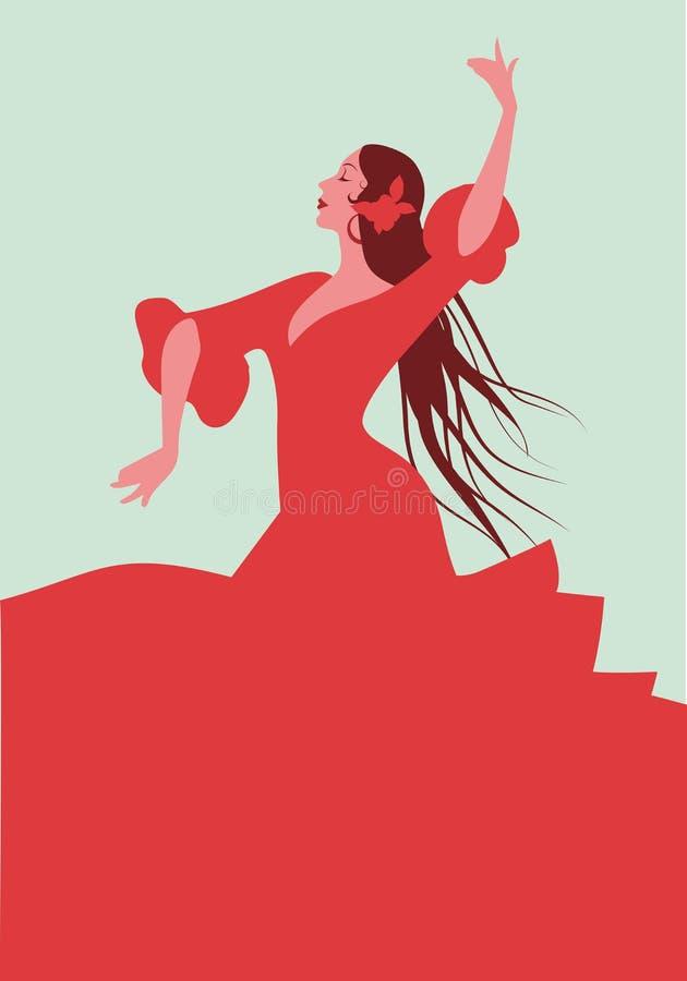 Bailarín español hermoso del flamenco, vestido rojo elegante que lleva y libre illustration