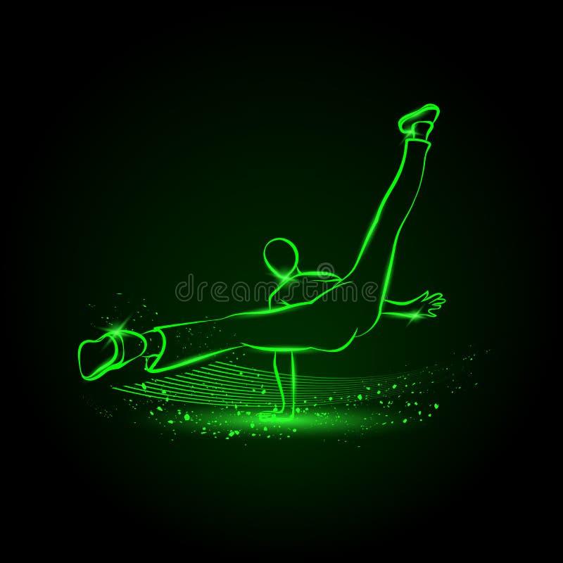 Bailarín fresco de la calle Ejemplo del neón de la danza de rotura libre illustration
