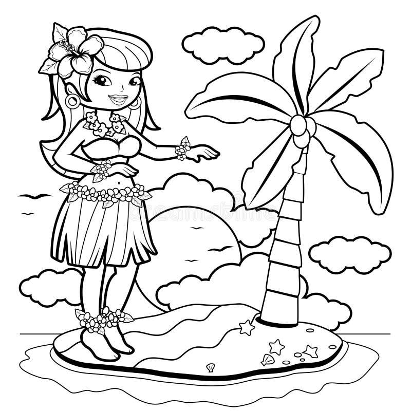 Bailarín Hawaiano Del Hula De La Mujer En Una Isla Página Del Libro ...