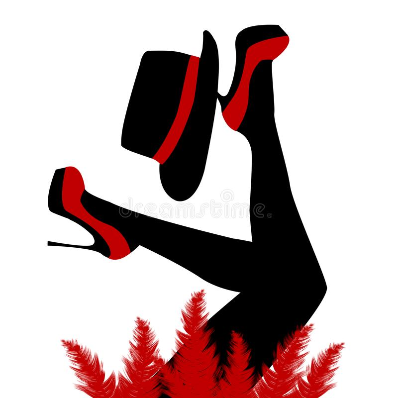 Bailarín hermoso del cabaret con los zapatos y el sombrero rojos stock de ilustración
