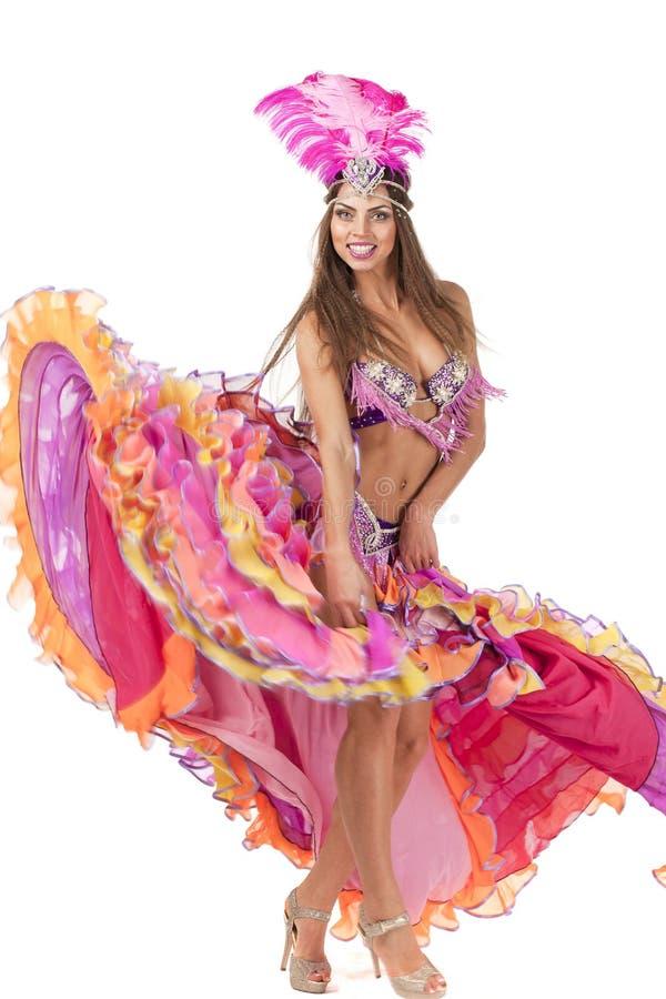 Bailarín hermoso del carnaval, traje asombroso fotos de archivo