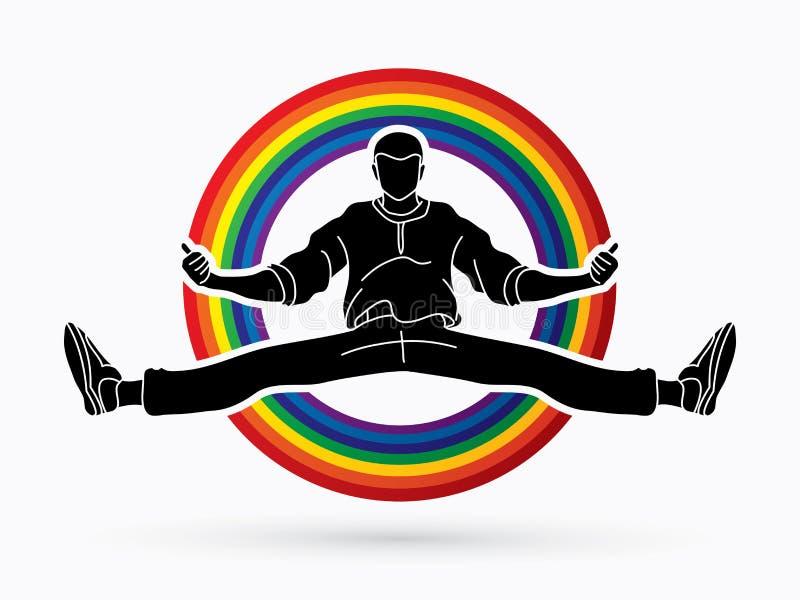 Bailarín, hip-hop, danza de la calle, muchacho de B, vector del gráfico de la acción de la danza libre illustration