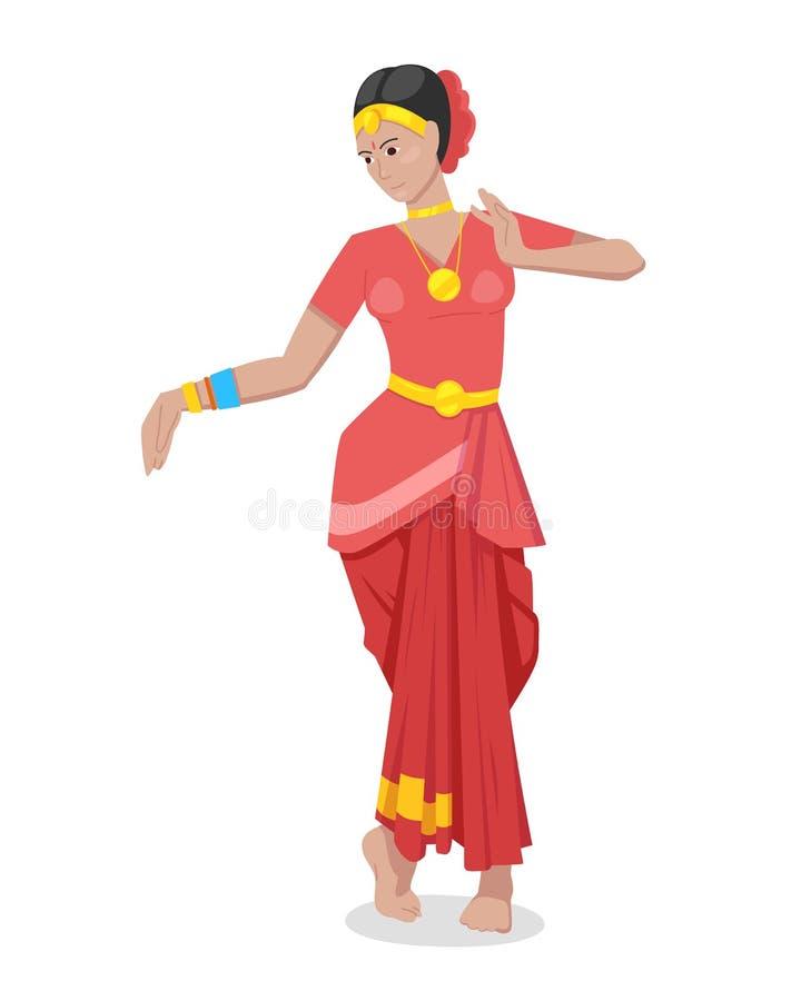 Bailarín indio de la muchacha, en traje tradicional clásico rojo colorido ilustración del vector