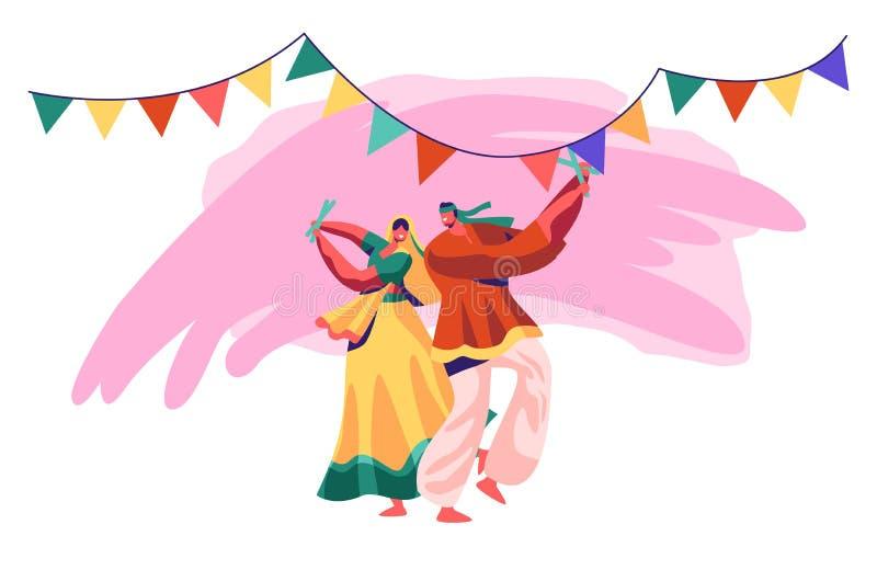 Bailarín indio Performing en festival nacional Danza del hombre y de la mujer en traje tradicional en la India exótica Señora en  ilustración del vector