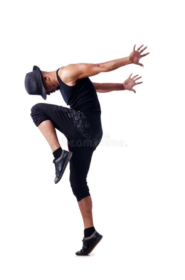 Bailarín muscular en blanco foto de archivo libre de regalías