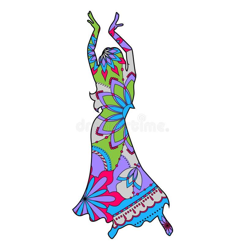 Bailarín oriental colorido stock de ilustración