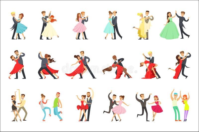 Bailarín profesional Couple Dancing Tango, vals y otras danzas en el sistema de Dancefloor de la competencia del baile libre illustration