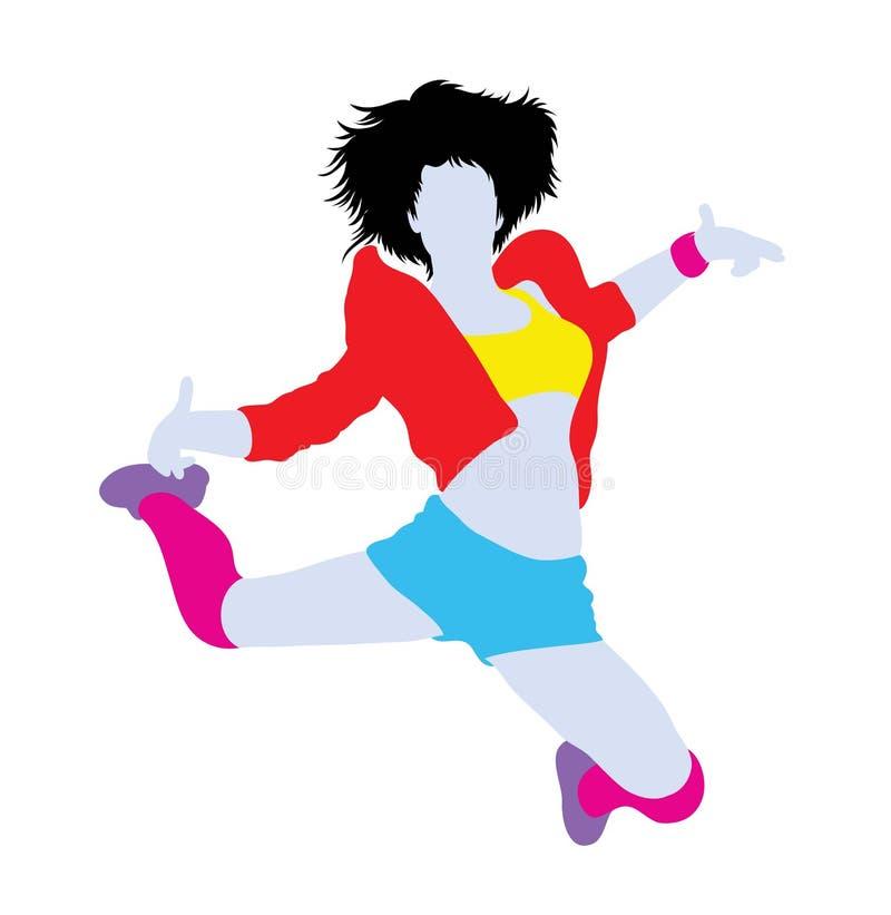 Bailarín Silhouette de Hip Hop de la actividad y de la acción stock de ilustración