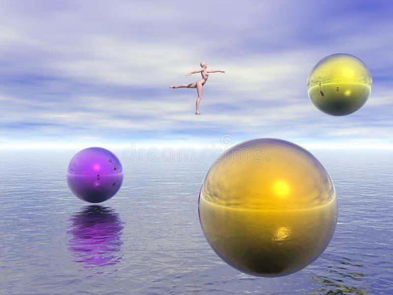 Bailarín y esferas coloridas stock de ilustración