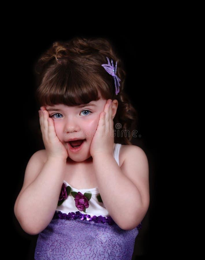 Bailarina adorável com mãos em cheeks.isolated fotografia de stock royalty free