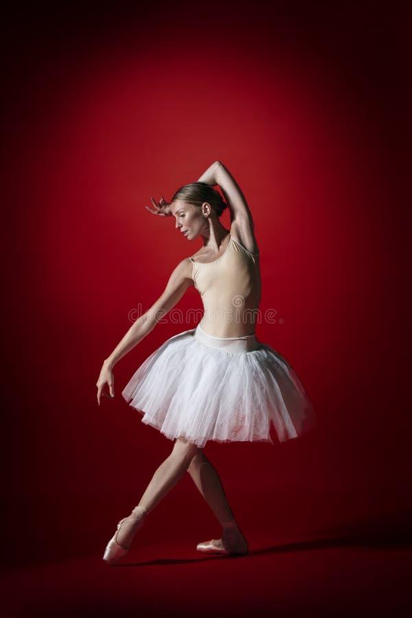 Bailarina Baile femenino agraciado joven del bailarín de ballet en el studioskill rojo Belleza del ballet clásico fotos de archivo libres de regalías
