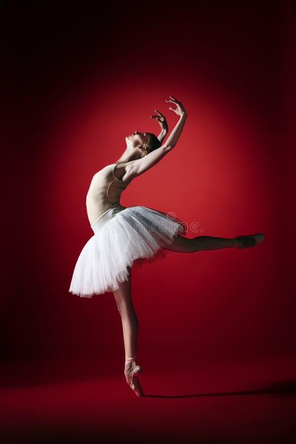 Bailarina Baile femenino agraciado joven del bailarín de ballet en el studioskill rojo Belleza del ballet clásico foto de archivo
