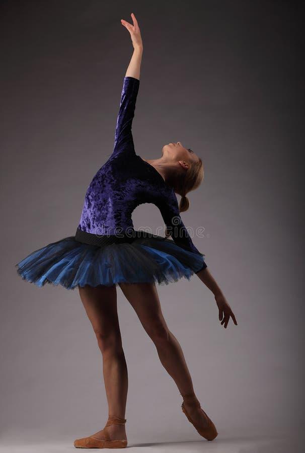 Bailarina bonita com corpo perfeito na dança azul do equipamento do tutu no estúdio imagem de stock