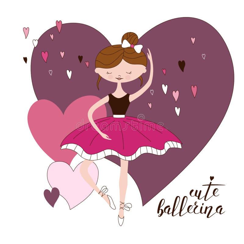 Bailarina bonita no tutu clássico Entregue a ilustração tirada da menina bonito no vestido cor-de-rosa Dançarino bonito Vetor dos ilustração stock