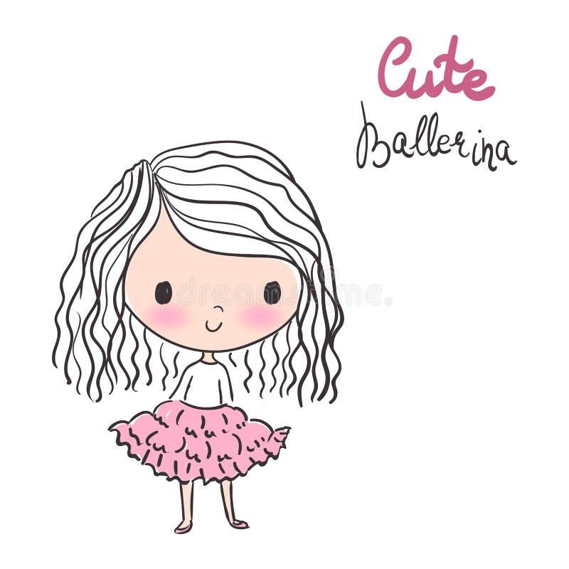 Bailarina bonito com cabelo encaracolado na ilustração cor-de-rosa do vetor do tutu ilustração do vetor
