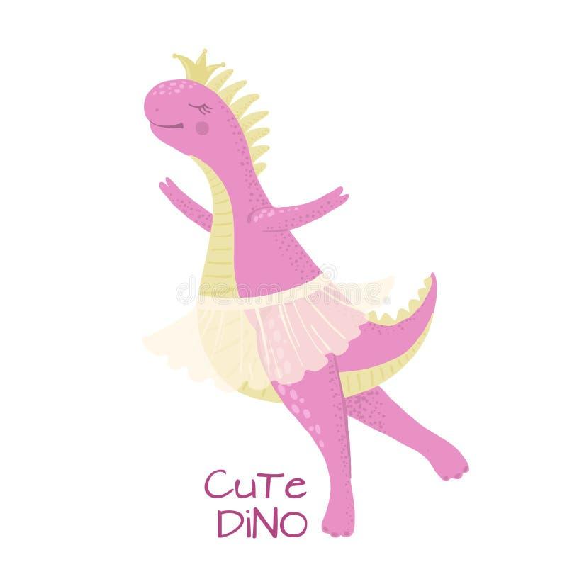 Bailarina bonito do dinossauro do bebê isolada no branco ilustração royalty free