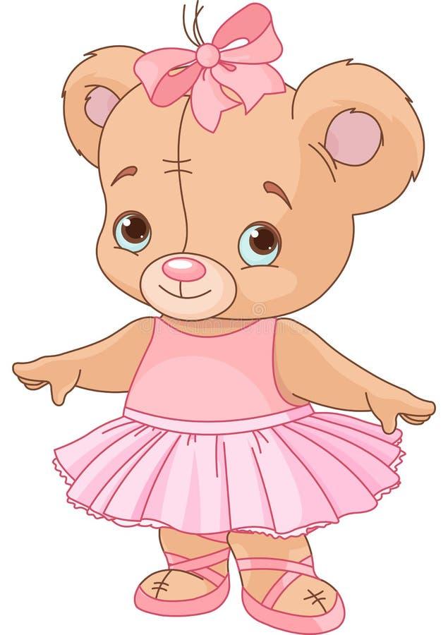 Bailarina bonito do urso da peluche ilustração stock