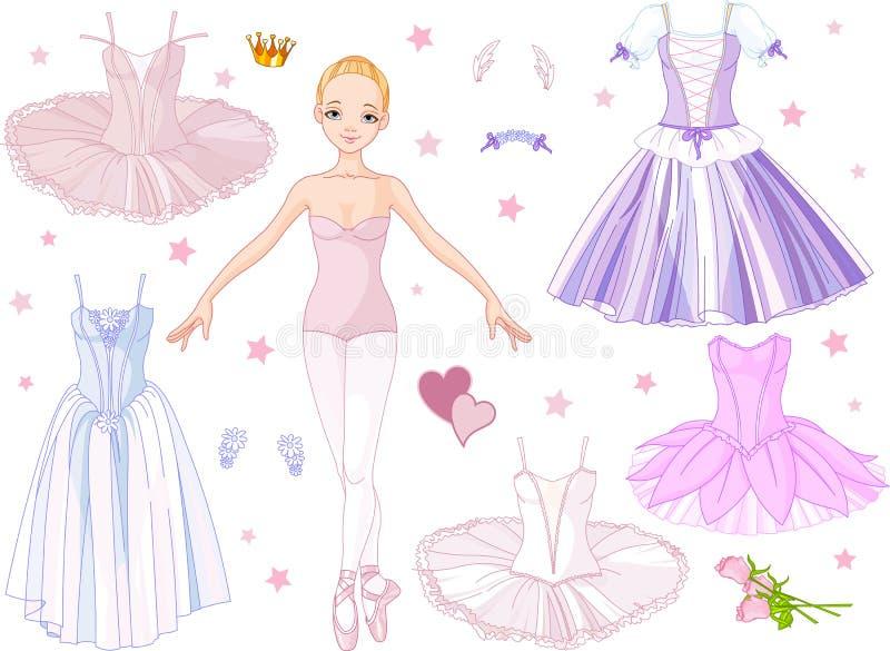 Bailarina con los trajes stock de ilustración
