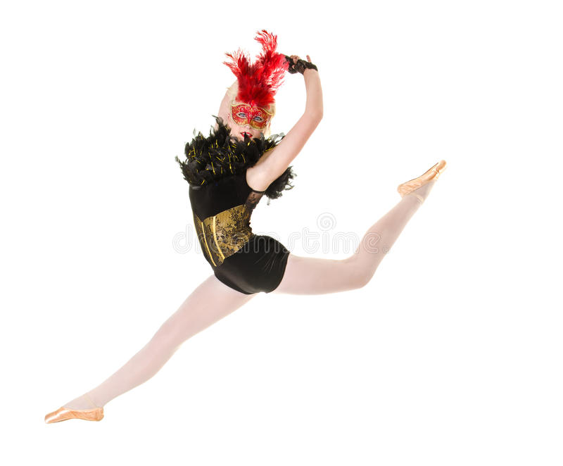 Bailarina con salto posterior de la actitud fotografía de archivo