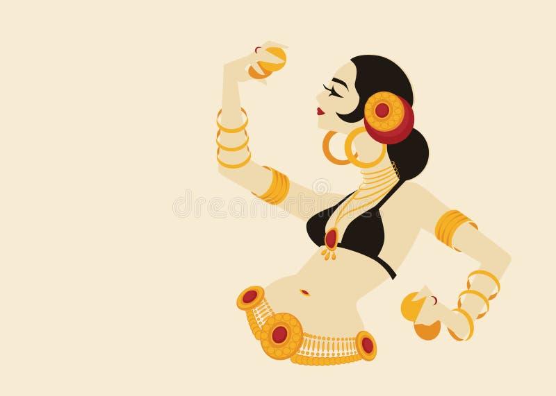 Bailarina de la danza del vientre tribal con los platillos que llevan a cabo p impresionante expresivo ilustración del vector