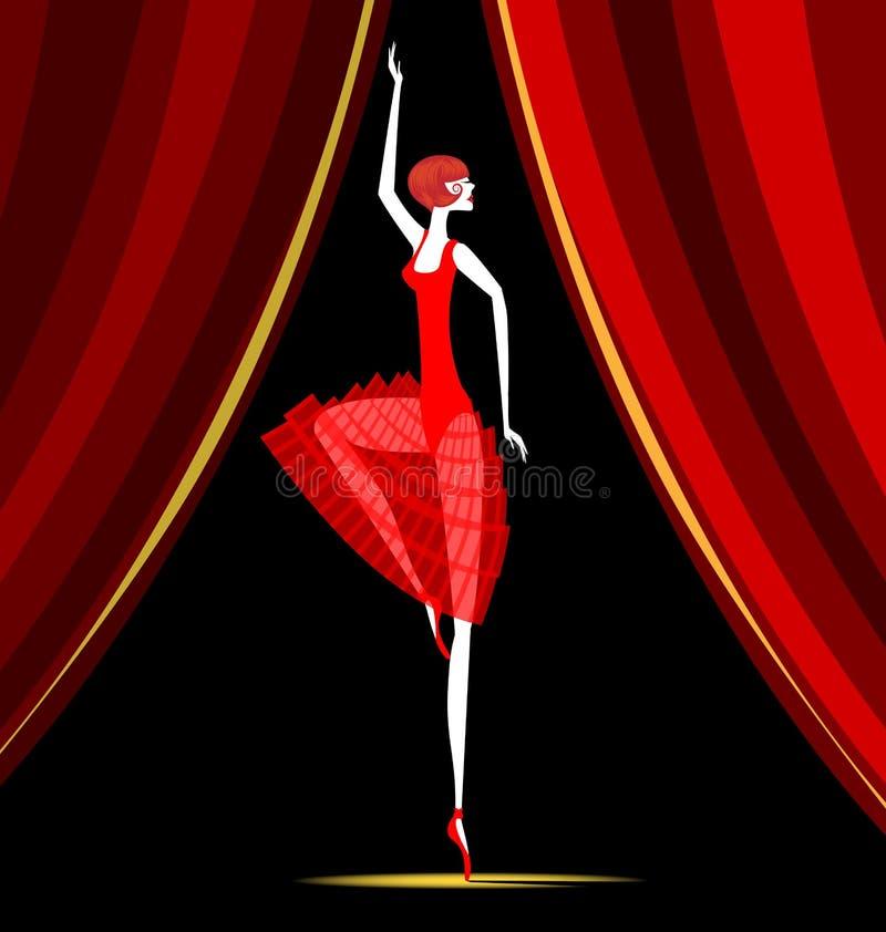 Bailarina del baile en rojo ilustración del vector
