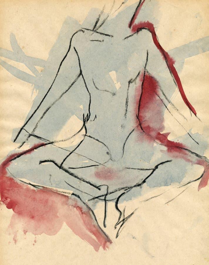 Bailarina, desenhando 3 ilustração stock