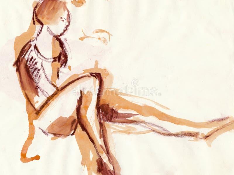 Bailarina, desenhando ilustração do vetor